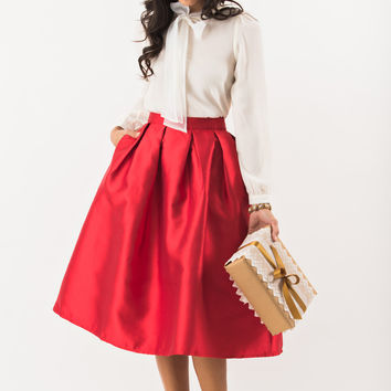 Lucille Red Shiny Full Midi Skirt