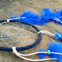 Small Dream Catcher, Handmade 5 inch Dreamcatcher, Bright Blue Feathers Wall Hanging, Bedroom Decor, Traditional Southwestern Decor