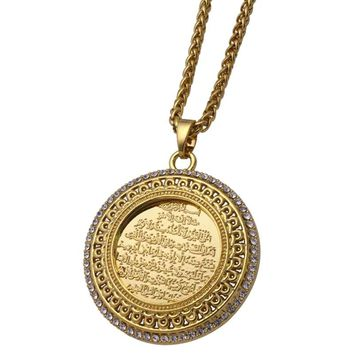 zkd AYATUL KURSI crystal Pendant necklace  islam muslim Arabic God Messager Gift  jewelry