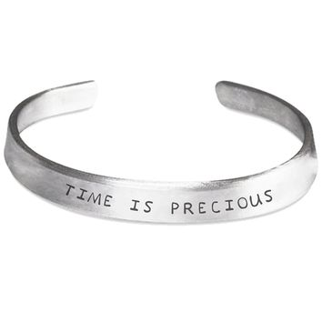 Time is Precious Silver Hand-Stamped Bracelet - One Size Fits All - Made in USA