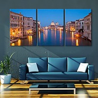 E-HOME® Stretched LED Canvas Print Art City Canal Flash effect LED Set of 3 - USD $ 119.99