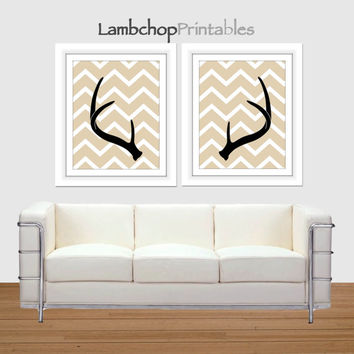 Deer Antler Set, Antler Print Set, 8x10, 16x20 poster, Antler Decor, Deer Rack, Home Decor, Instant Downloads, Chevron Pattern, Wall Art