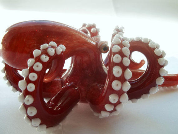 Glass Pipe OCTOPUS PIPE, Hand Blown, One of a Kind, CGGE Team