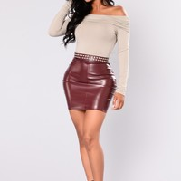 Casual Slay Leather Skirt - Burgundy