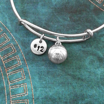 Basketball Bangle Bracelet Silver Basketball Bracelet Basketball Gift Team Number Expandable Bracelet Adjustable Bangle Personalized Bangle