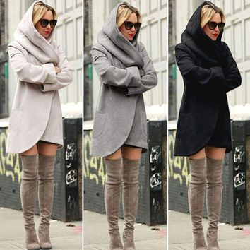 Hooded Wool Long Jacket Coat
