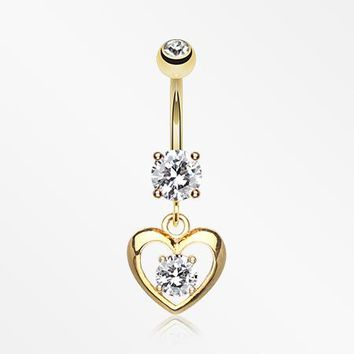 Golden Heart Gem Sparkle Belly Ring