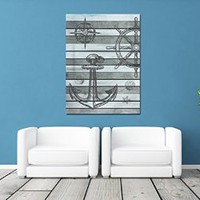 """canik190 Canvas Print Artwork Stretched Gallery Wrapped Wall Art Painting anchor rudder compass starfish Sea Size 26x32"""""""