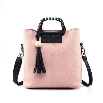 Women Vintage Tassel Leather Female Bag Crossbody Shoulder Bags+Clutch Bag