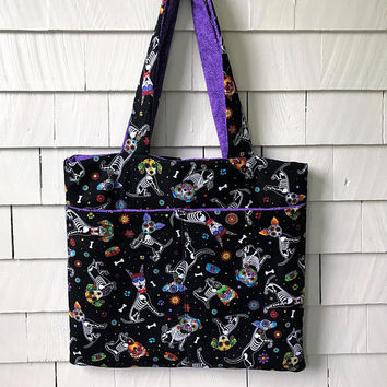 Day of Dead Dog Tote Bag | Kids Tote Bag | Book Bag | Diaper Bag | Fabric Tote Bag | Gift for Her | Daycare Bag