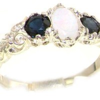 925 Sterling Silver Natural Opal and Sapphire Womens Trilogy Ring - Sizes 4 to 12 Available