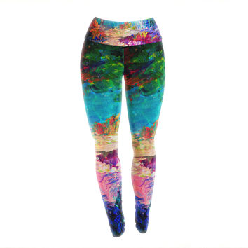 "Ebi Emporium ""Welcome to Utopia"" Rainbow Yoga Leggings"