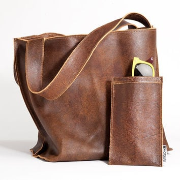 SALE Distressed brown leather tote bag, Soft leather/ Shiri bag