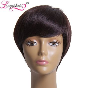 Longqi Hair None Lace Short Bob Human Hair Wigs For Black Women with Baby Hair Straight Brazilian Non-Remy Hair DS01