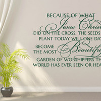 Christian Wall Decal. Because of what Jesus Christ did - CODE 102