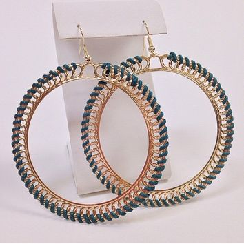 NWOT Blue woven large gold hoop earrings