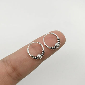 Sterling Silver 12 mm hoop earring, Bali jewelry, Cartilage Hoop Earrings, Bali hoop Earrings, Helix Hoop Earrings, Tiny Hoop Earrings