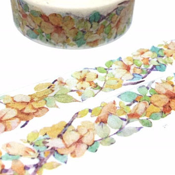 Yellow flower washi tape 7M five Petal Flower yellow tone flower sticker flower themed floral tape flowers tape floral garden planner tape