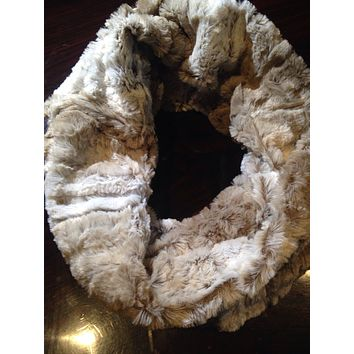 Two Toned Grey and Ivory soft faux fur Infinity Scarf