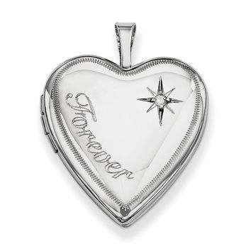 Sterling Silver Rhodium-plated 20mm Forever with Diamond Star Heart Locket QLS322