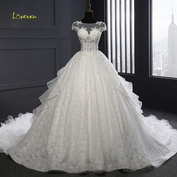 Loverxu Vestido De Noiva Luxury Lace Ball Gown Wedding Dresses 2018 Sexy Illusion Ruffles Appliques Beaded Bridal Gown Plus Size