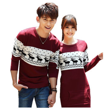 2016 Fashion Winter Men's /Women Wine Red/Dark Blue  Long Sleeve Crewnecks Pullovers Matching Deer Couple Christmas Sweaters