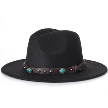 Trendy Men Women Casual Woolen Cowboy Hats Fedora Caps Korean Style Unisex Wide Brim Panama Hat Summer Beach Sun Cap Sunhatts wh
