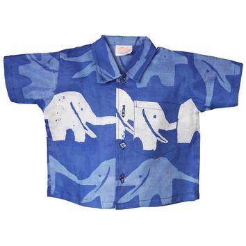 Fair Trade Baby Boy Blue Elephant button down shirt