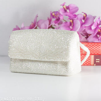 1960s Beaded Wedding Purse Bag: Vintage 1960s Richere Walborg White Hand Made Wedding Handbag, Evening Purse / Small Bag, Made in Japan