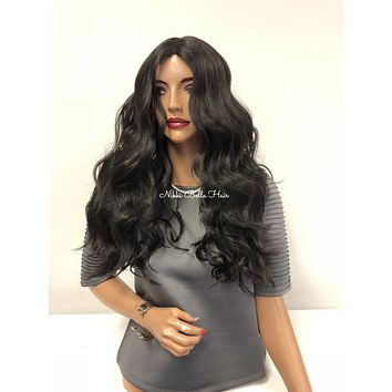 Black Swiss Lace Front UPART Wig 18"