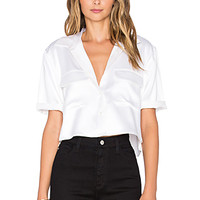 Short Sleeve Signature Silk Charmeuse Cropped Button Up in Bright White