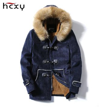 HCXY jaqueta masculina thick men down jacket male Deer skin leather couple hooded winter jackets and coats cotton parka man