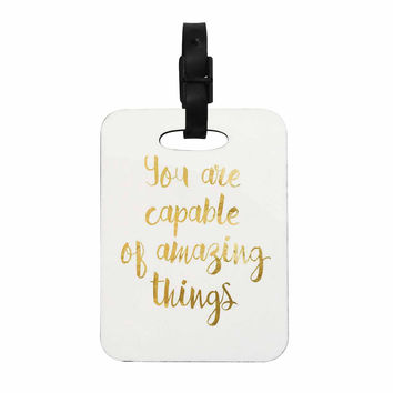 "NL Designs ""Amazing Things"" Gold White Decorative Luggage Tag"