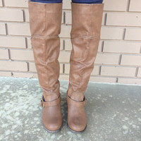 Brown Knee High Buckle Boots