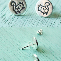 Silver Squirrel Stud Earrings
