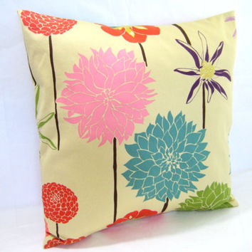 Two Floral Pillow Covers, Cushion Cover, Decorative Toss Pillow, Modern Print, Set of 2