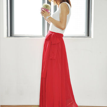 Plus Size Maxi Skirt Chiffon Silk Skirts Beautiful Bow Tie Pink Elastic Waist Summer Skirt Floor Length Long Skirt (037)