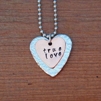 True Love Necklace  Hand Stamped Heart Shaped by KennabelleDesigns