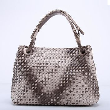 Trendy Fade Color Woven Leather Handbag Cross Stitch Hobo Women's Gradient Knitting Half Moon Casual
