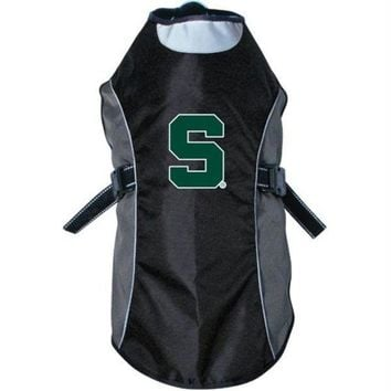 DCCKT9W Michigan State Spartans Water Resistant Reflective Pet Jacket