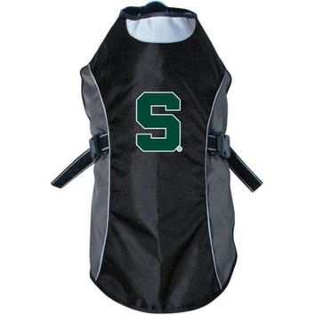 VONE05RR Michigan State Spartans Water Resistant Reflective Pet Jacket