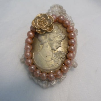 Vintage Look, Resin Cameo and Setting, Vintage Pin or Brooch, 1940's Glass Pearls, Resin, Gold Metallic Rose Flower