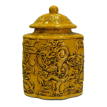 Chinese Yellow Relief Dragons Flower Shape Pottery Jar