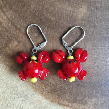 Lobster Earrings, Glass Lobster Jewelry, Red Lampwork Earrings, Beach Earrings, Ocean Earrings,Summer Earrings, Dangle Earrings