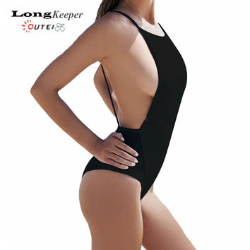 2017 New Mesh Splicing Bodysuit Sexy Backless 1 One Piece Swimsuit High Neck Swimming Suit for Women Swimwear Bathing Suit B122