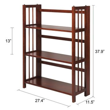 Casual Home 3-Shelf Folding Stackable Bookcase, 27-inch, Walnut