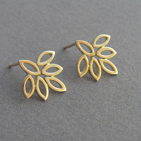 14k Gold Leaf Earrings - Lotus Earrings - Flower Earrings  - Solid Gold Jewelry - Gold Stud Earrings