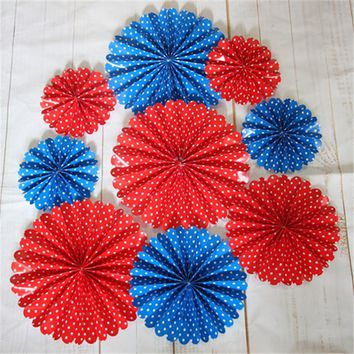 Red White and Blue Party Paper Pinwheels