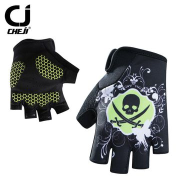 SKull Shock-proof Women's Half Finger Cycling Gloves CHEJI Bike Short Gloves