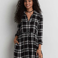 AEO Plaid Babydoll Shirtdress, Black